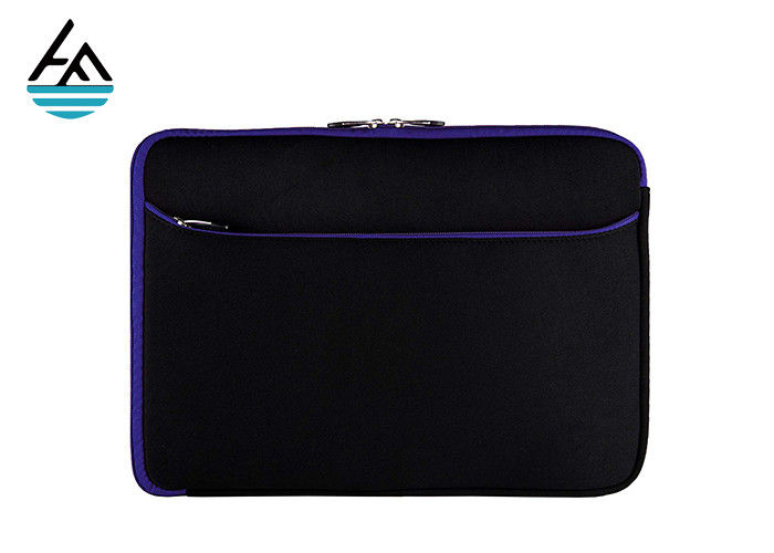 Muti Function Black Neoprene Laptop Sleeve With Extra Pouch Resin Zipper