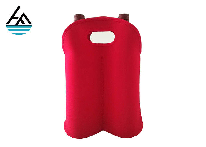 Waterproof Neoprene 2 Bottle Wine Tote , Red Double Wine Cooler Bag